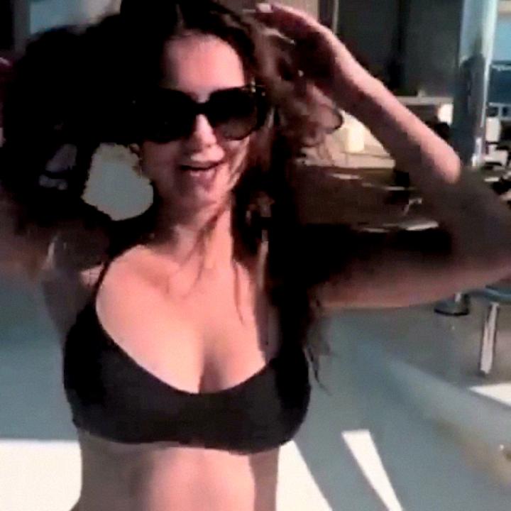 Nina Dobrev - Ice Bucket Challenge in a Bikini