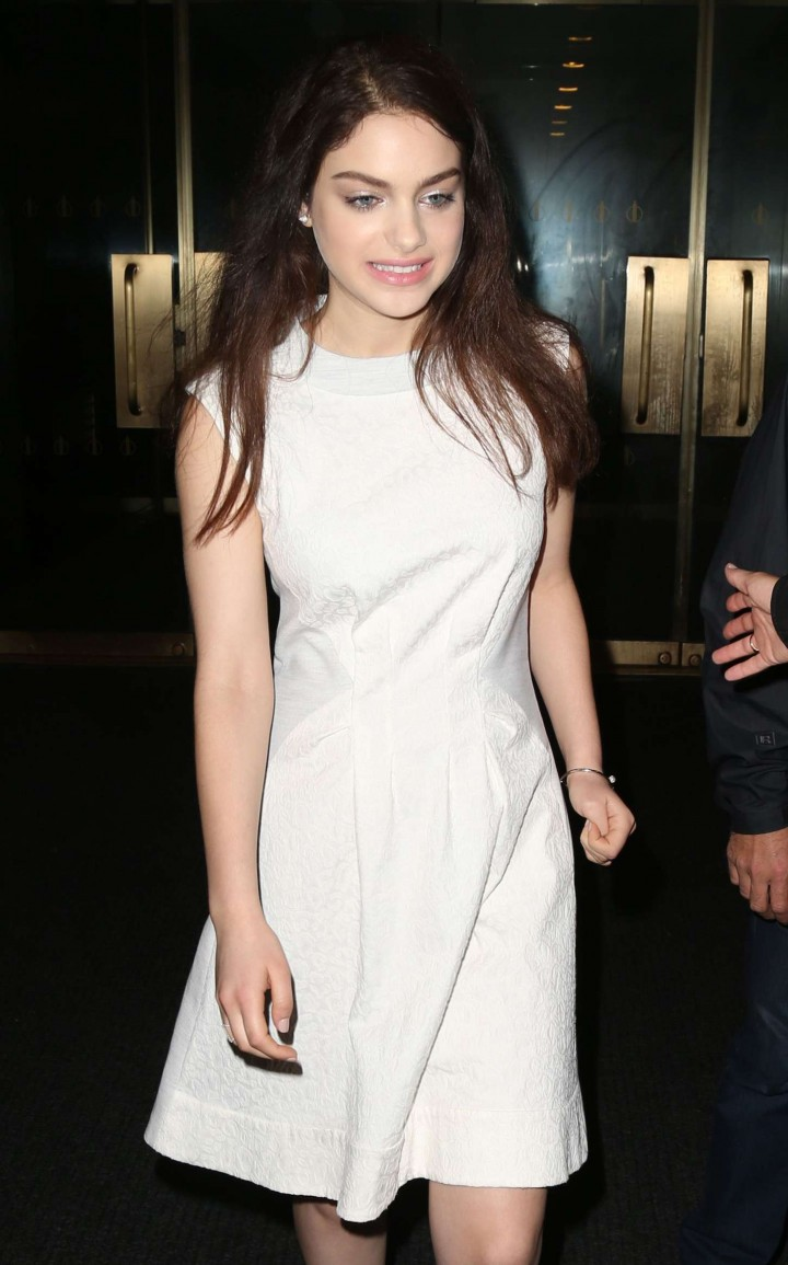 Odeya Rush in White Dress Leaving The Today Show in NYC