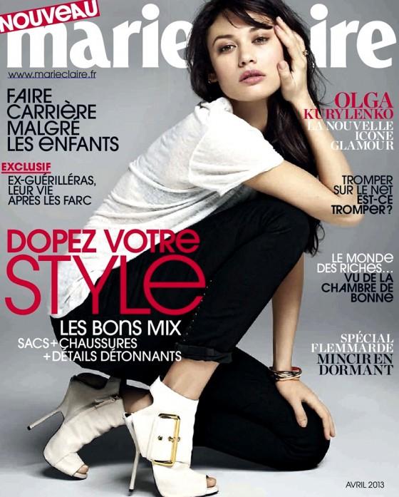 sophie 39 s fashion blog olga kurylenko for marie claire magazine france april 2013. Black Bedroom Furniture Sets. Home Design Ideas