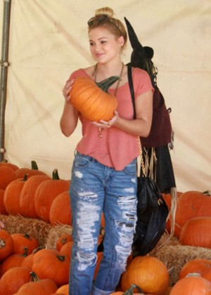 Olivia Holt in Ripped Jeans at Mr. Bones Pumpkin Patch in West Hollywood