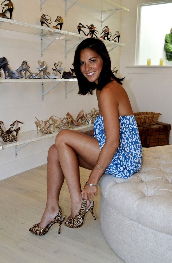 Olivia Munn Shows her legs in high heels at LOOK LA Showroom