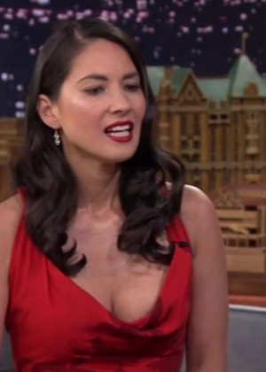 "Olivia Munn in Red Dress at ""The Tonight Show with Jimmy Fallon"" in NYC"