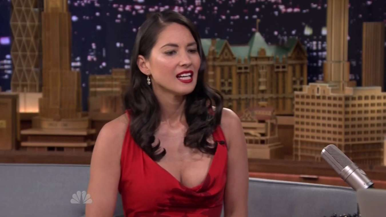 """Olivia Munn in Red Dress at """"The Tonight Show with Jimmy Fallon"""" in NYC"""