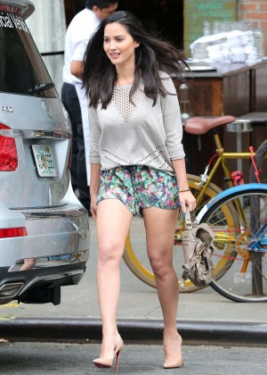 Olivia Munn in Shorts Leaving The Bowery Hotel in New York City