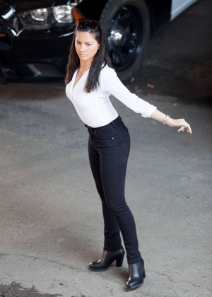 "Olivia Munn Hot in tight black pants at ""Ride Along 2"" Set in Atlanta"