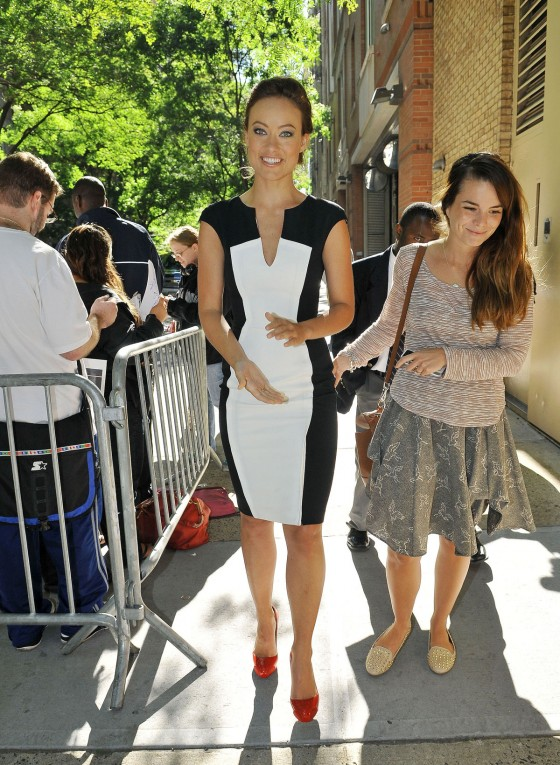 Olivia Wilde in tight dress arrives at the Live with Kelly and Michael show