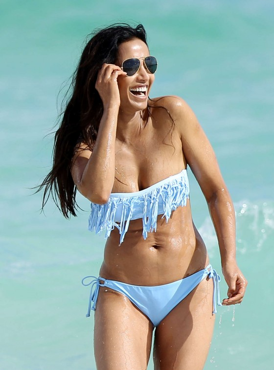 Padma Lakshmi - bikini candids on the beach in Miami