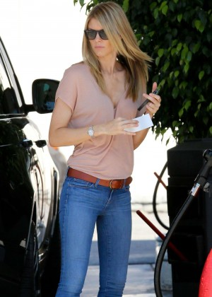 Paige Butcher in Jeans at a local gas station in LA