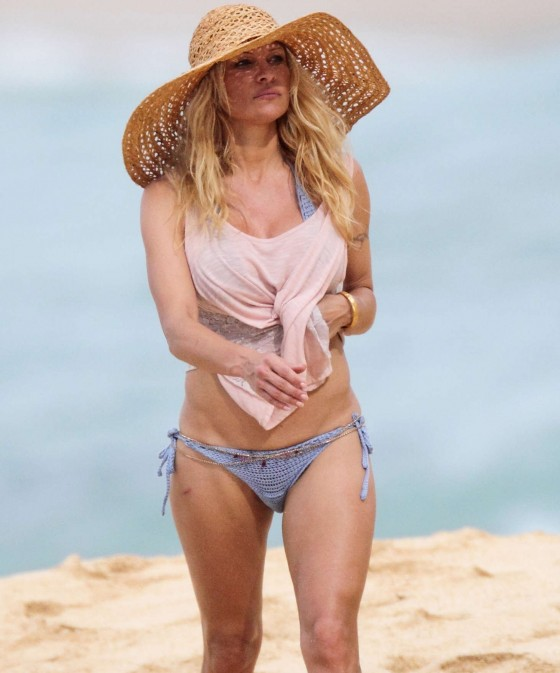 Pamela Anderson Takes a Walk on the Beach on the Island of Maui