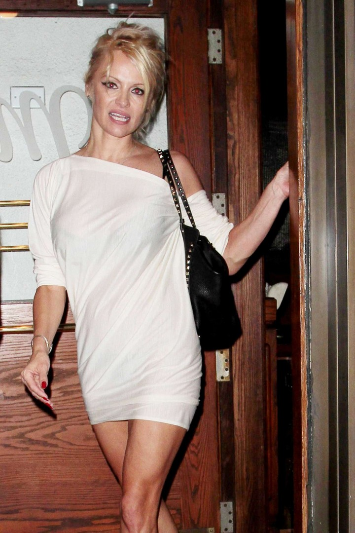Pamela Anderson in Mini Dress out in Los Angeles