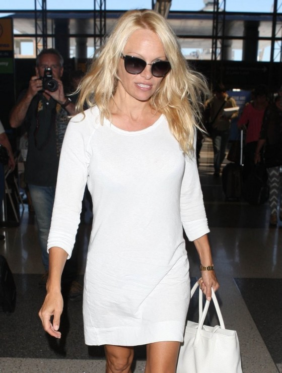 Pamela Anderson - Seen at LAX Airport -01