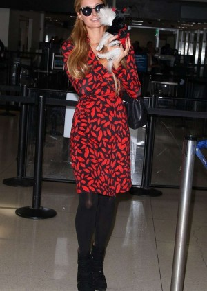 Paris Hilton in Red Dress Arriving at LAX Airport in Los Angeles