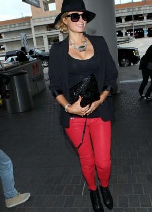 Paris Hilton in Red Pants at Los Angeles International Airport