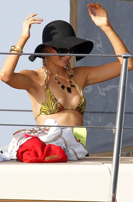Paris Hilton - Bikini candids at the beach in Formenta - Ibiza
