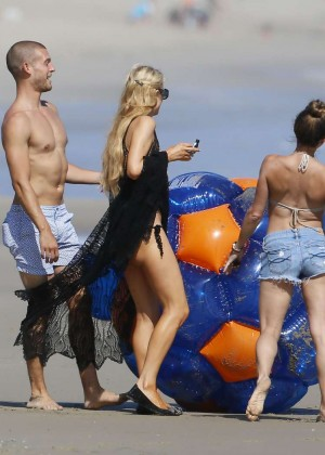 Paris Hilton bikini on the beach in Malibu -02