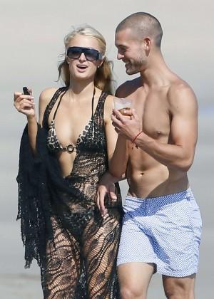 Paris Hilton bikini on the beach in Malibu