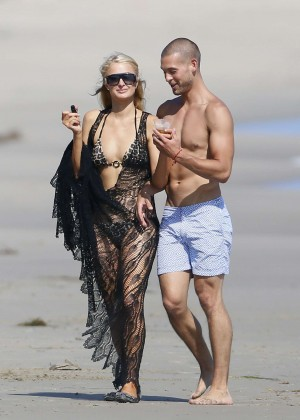 Paris Hilton bikini on the beach in Malibu -18