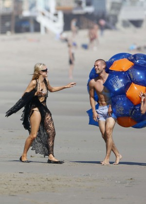 Paris Hilton bikini on the beach in Malibu -25