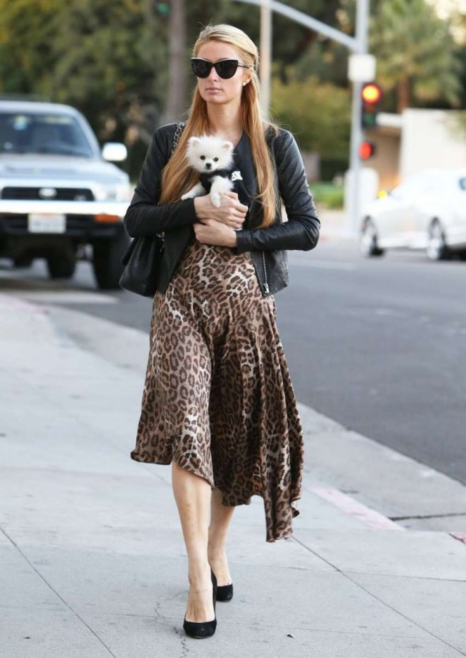 Paris Hilton in Leopard Print Dress Goes Shopping In Beverly Hills