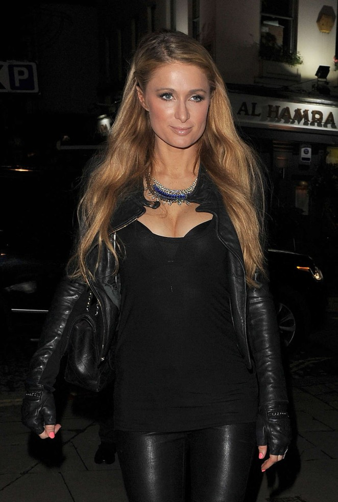 Paris Hilton in Leather Pants Out in London