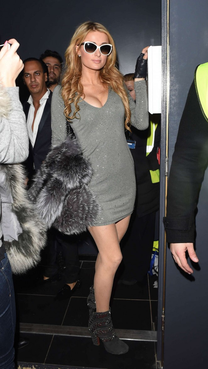 Paris Hilton in Silver Mini Dress Out in London