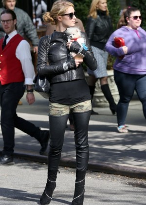 Paris Hilton in Tights Out in NYC