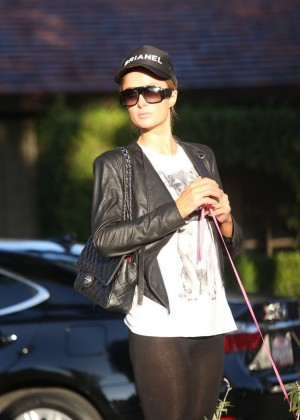 Paris Hilton in tights out and about-18