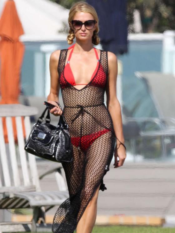 Paris Hilton in Red Bikini -01