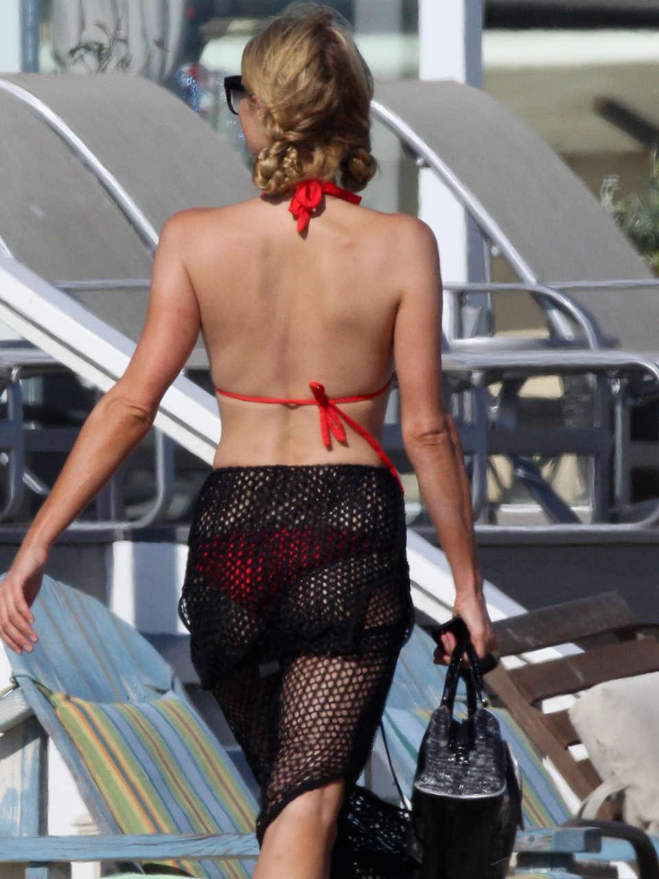Paris hilton in a red bikini