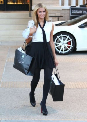Paris Hilton in Mini Dress Shopping in Beverly Hills