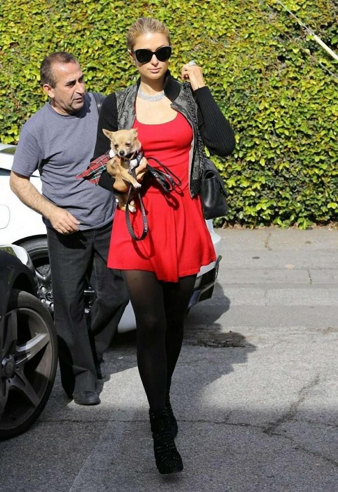 Paris Hilton in Red Mini Dress -01