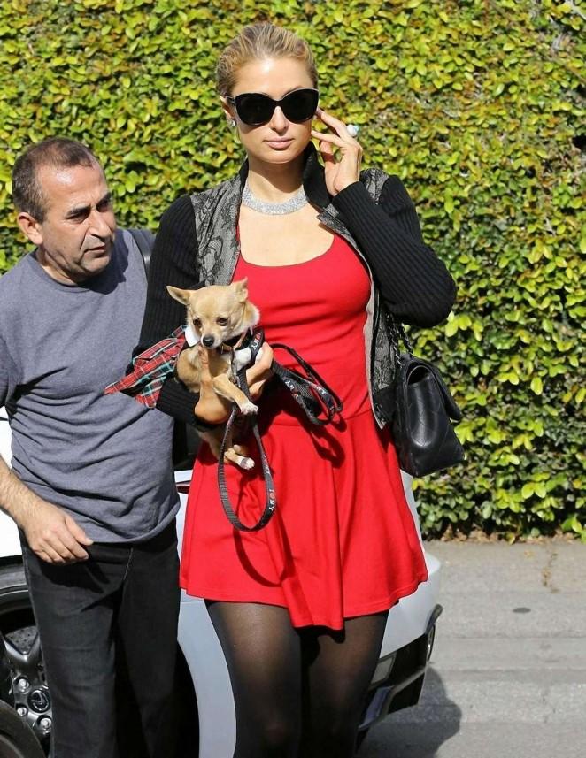 Paris Hilton in Red Mini Dress -04