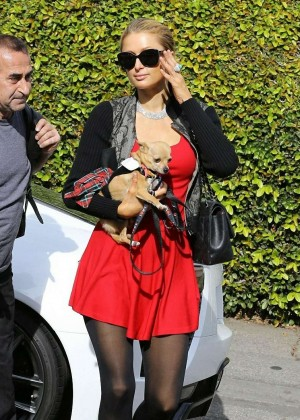 Paris Hilton in Red Mini Dress Stops by the salon in Beverly Hills