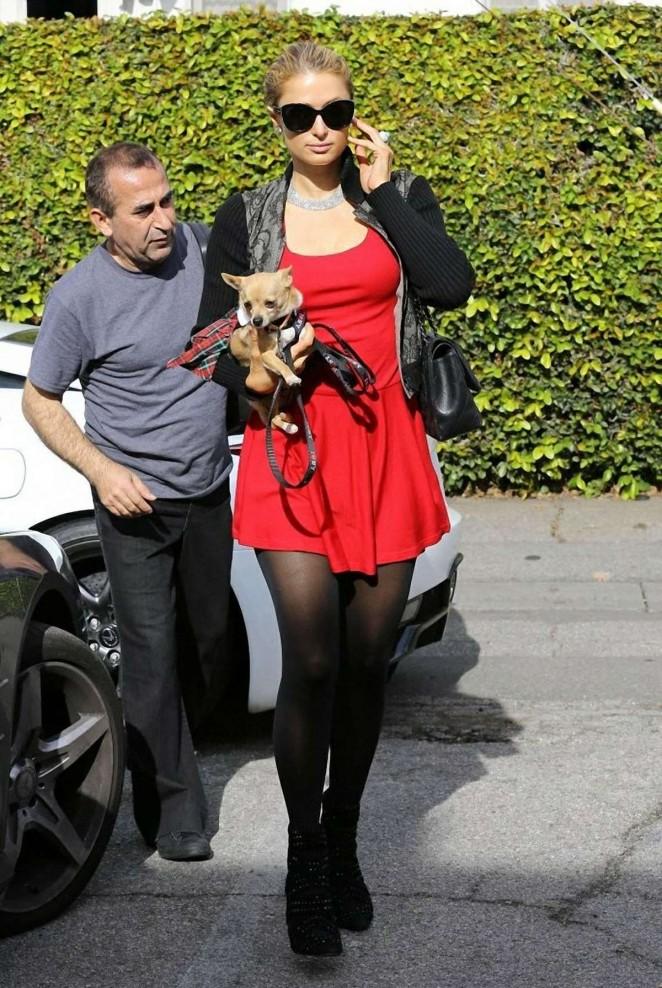 Paris Hilton in Red Mini Dress -10