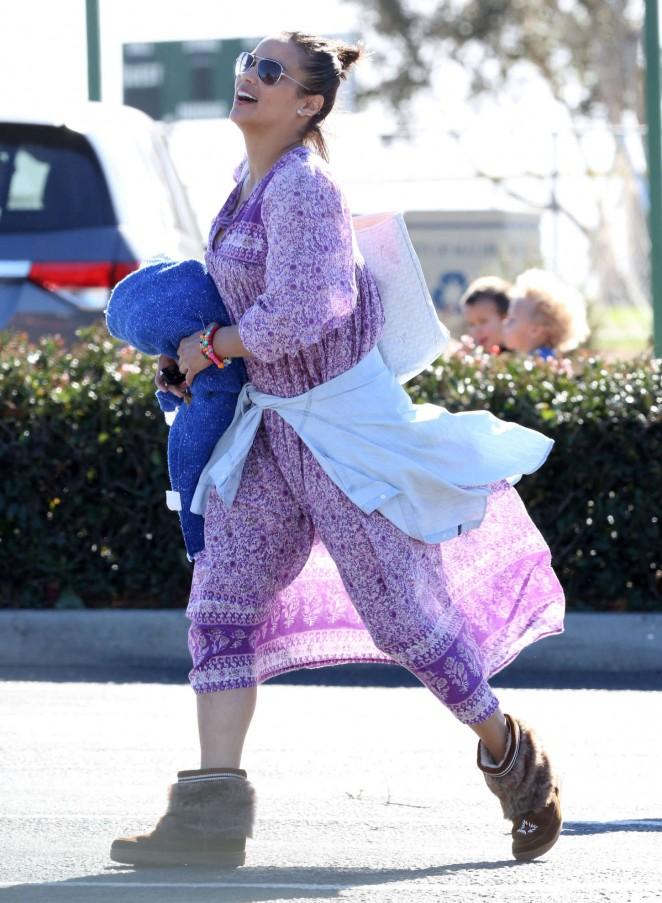 Paula Patton in Purple Dress out in Malibu
