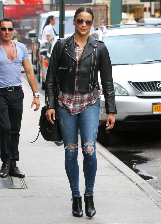 Paula Patton in Ripped Jeans Out in NYC