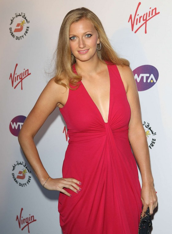Petra Qvitova - in a red dress at WTA Pre-Wimbledon Party at the Kensington Roof Gardens