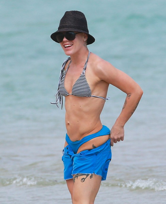 Pink - Wearing bikini on the beach in Miami -03