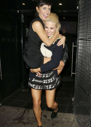 Pixie Lott - having fun with friends outside the Faces Nightclub in London