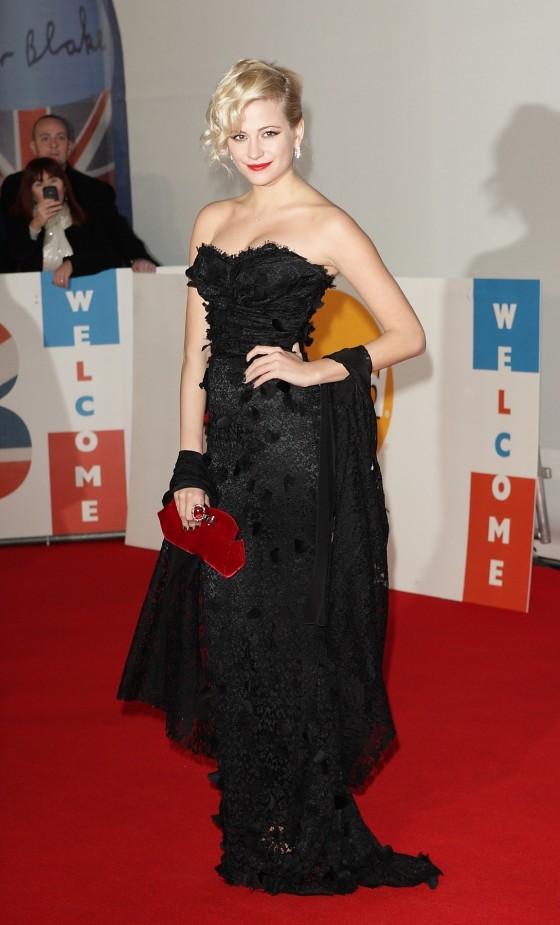 Pixie Lott cleavage in tight dress at 2012 Brit Awards-01