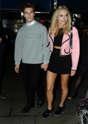 Pixie Lott in Black Mini Skirt Leaving Boujis Nightclub in London