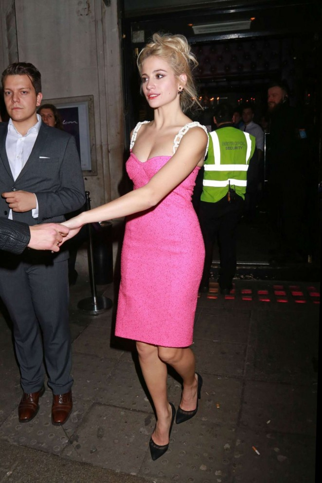 Pixie Lott in Pink Dress Leaving the Freedom Bar Soho