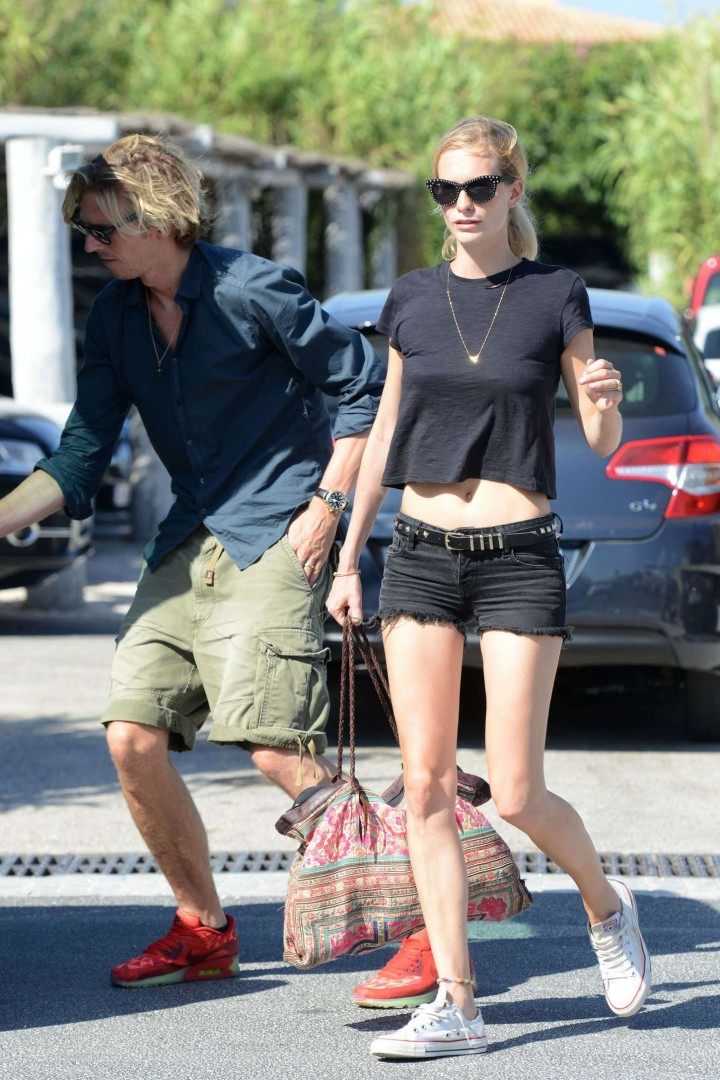 Poppy Delevingne in Shorts at Club 55 in St Tropez