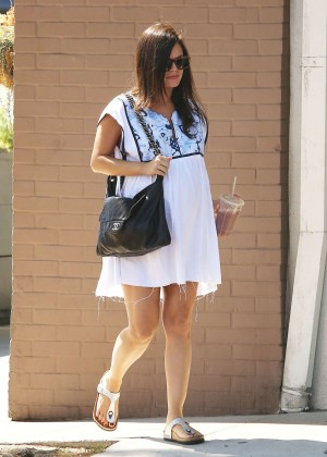 Rachel Bilson in White Mini Dress at Stamp Proper Foods in Los Feliz