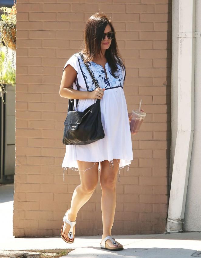 Rachel Bilson in White Mini Dress at Stamp Proper Foods in Los Feliz