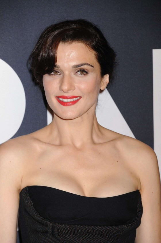 Rachel Weisz cleavage in tight dress at The Bourne Legacy