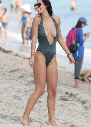 Raffaella Modugno in Green Swimsuit on Miami Beach