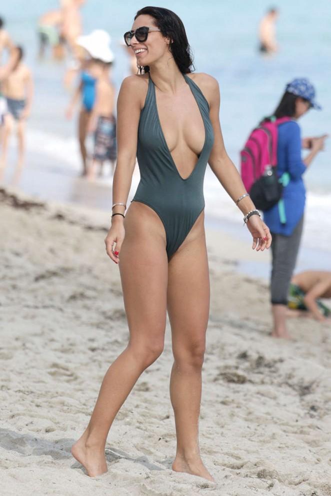 Raffaella Modugno in Green Swimsuit on Miami Beach