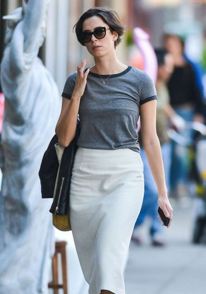 Rebecca Hall in White Skirt out in NY
