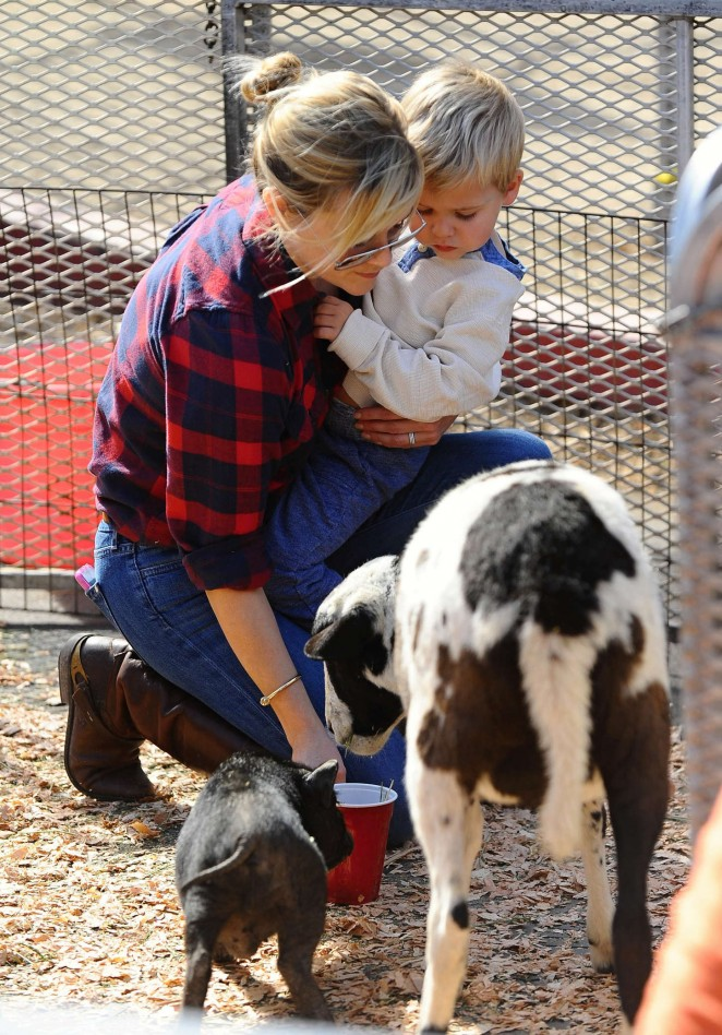 Reese Witherspoon with her son at Farmers Market in LA
